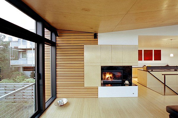 Corner fireplace with wall of interest