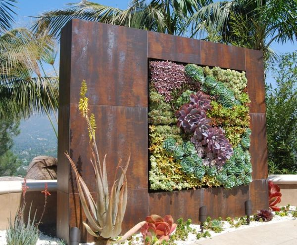 Custom designed succulent wall makes for a perfect addition to any natural setting