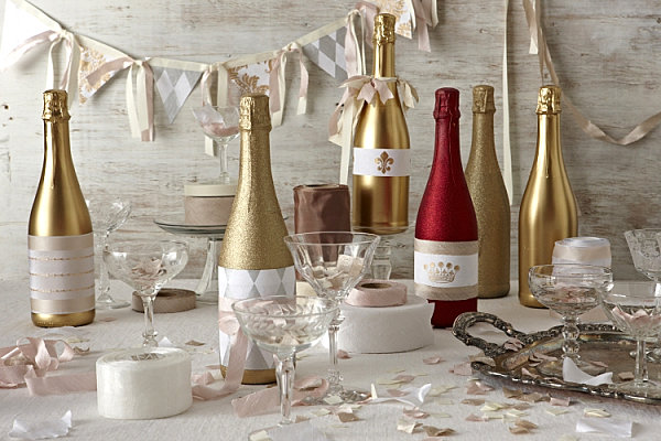 DIY champagne bottle centerpiece