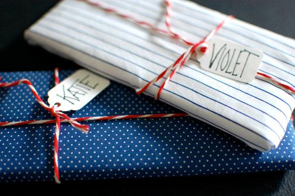 DIY fabric-wrapped chocolate bars
