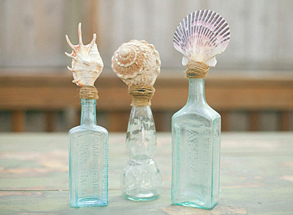 DIY shell topped bottles DIY Wedding Favors for Design Lovers