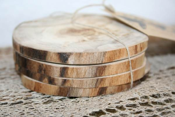 DIY wooden coaster wedding favors