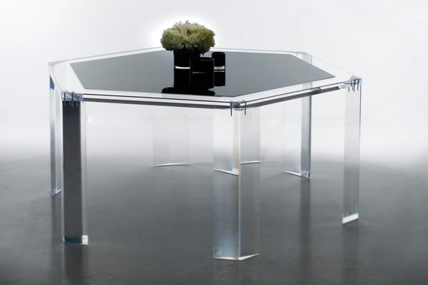Deco-style hexagonal table