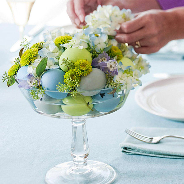 Egg and flower centerpiece
