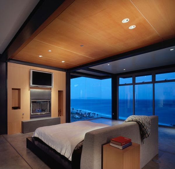 Elegant bedroom with a stylish floating bed