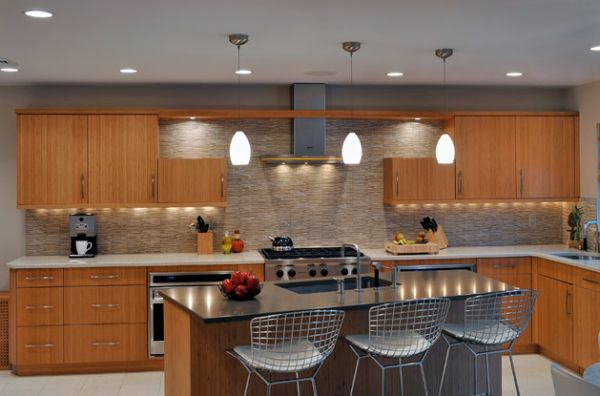 Elegant modern kitchen with lovely pendant lighting and an oriental touch