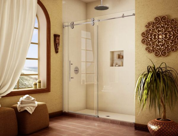 Elegant shower space with sliding glass doors