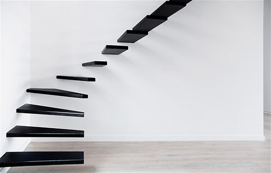 Exceptional floating staircase design in black 16 Unique and Creative Staircase Designs