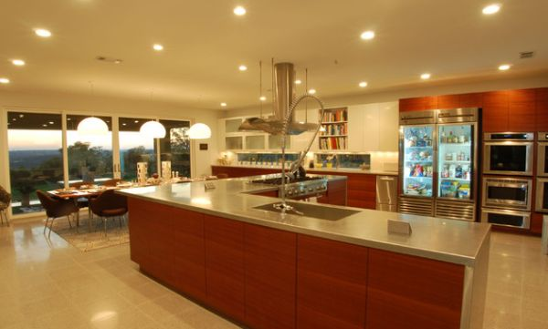 Exquisite contemporary kitchen with a lovely transparent glass door refrigerator