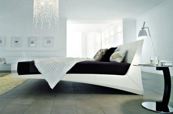 Exquisite floating bed with interesting form