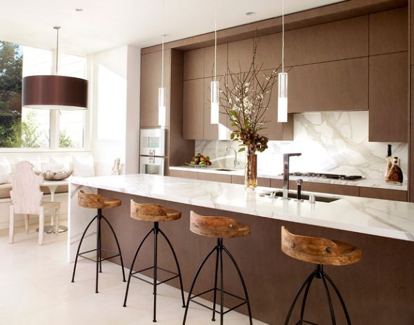 55 beautiful hanging pendant lights for your kitchen island view in gallery exquisite modern kitchen in white and brown with sleek pendant lights above the kitchen island aloadofball Image collections