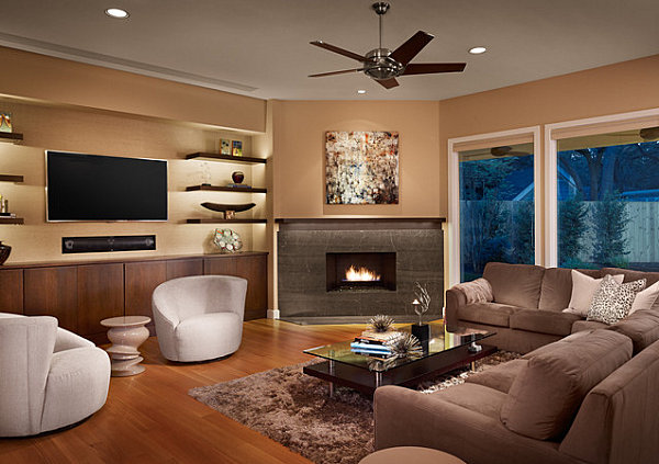 Sleek corner fireplaces with modern flair - Chimeneas artificiales decorativas ...