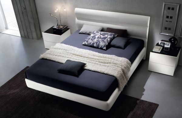 Floating bed upholstered in chic eco leather for the environmentally conscious