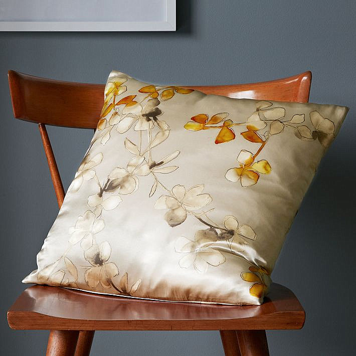 Floral silk pillow cover in neutral shades