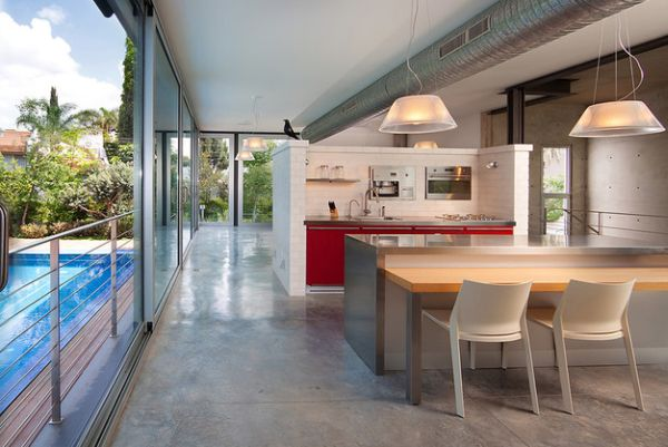 Flowing interiors complemented by a series of sliding glass doors