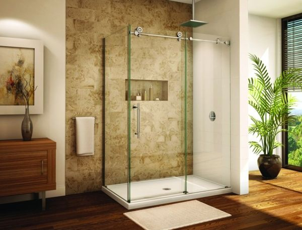 Frameless sliding glass door shower enclosure for a modern bathroom