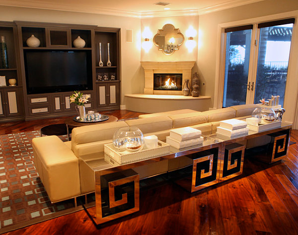 Sleek corner fireplaces with modern flair for Living room with corner fireplace