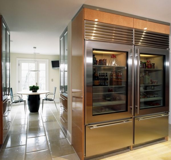 Giant glass front refrigerator offers ample storage space