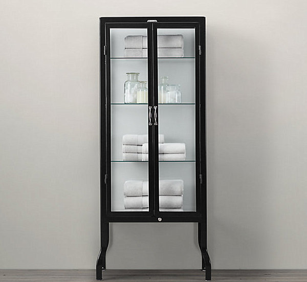 Glass and steel pharmacy cabinet