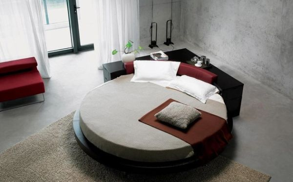 Gorgeous circle bed with drawers in the back for storage