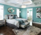 Gorgeous modern bedroom in beautiful aqua blue