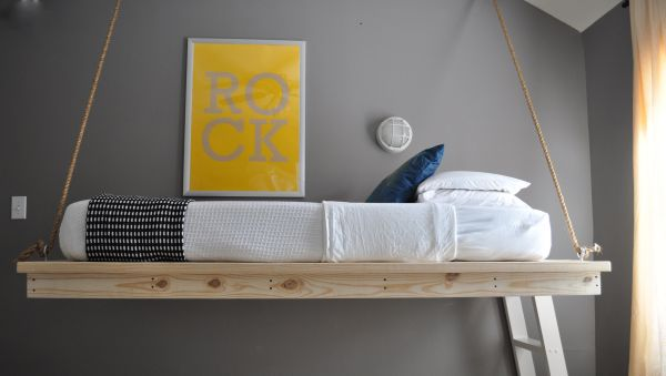 Hanging bed makes for a nice space saving bunk in the kids' room
