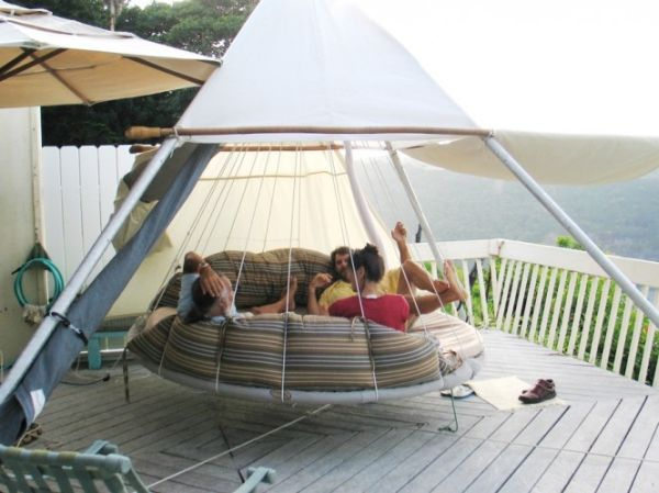 Hanging bed offers plenty of space for a cool hangout