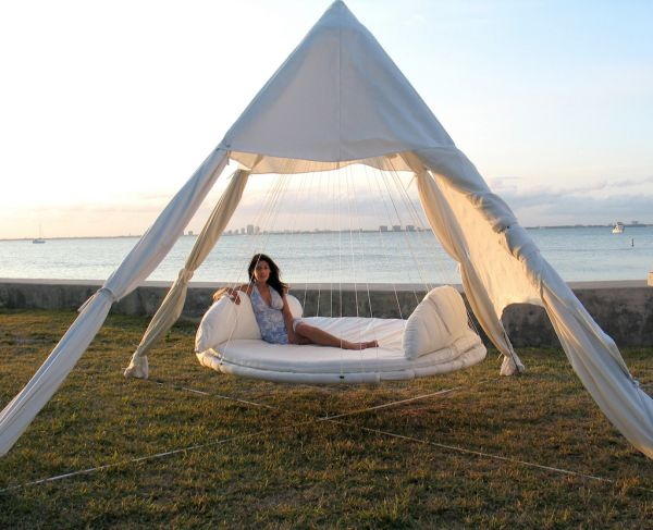 Hanging outdoor day bed is all about relaxing in style