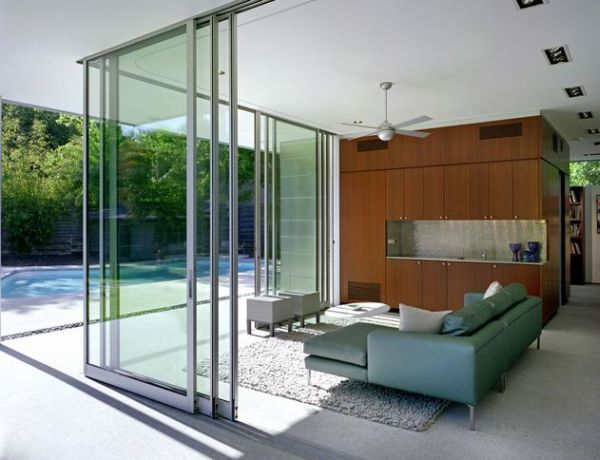Open living room overlooking canyon los angeles Sliding glass wall doors