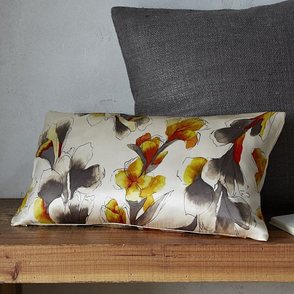 Iris motif silk pillow cover
