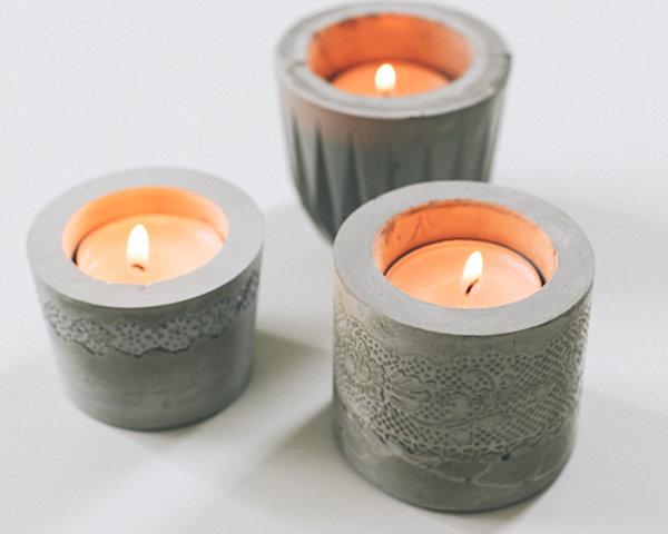 Lace cement votive candleholders