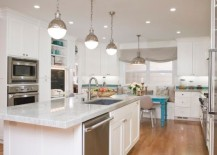Large Hicks pendants above the kitchen island