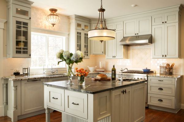 View In Gallery Large Single Pendant Light Above A Small Kitchen Counter Looks Like Modern Chandelier