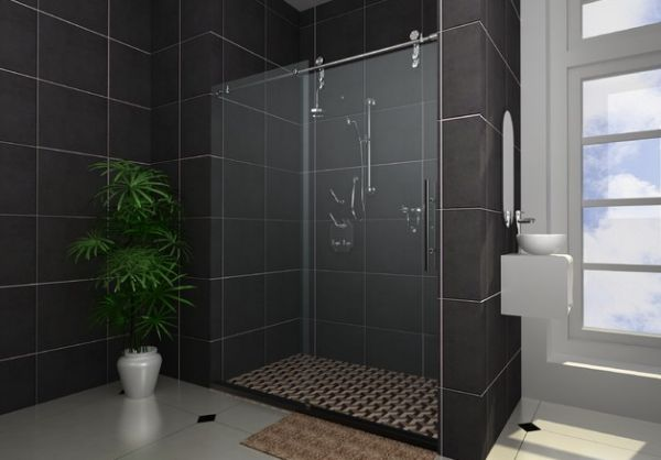 Lovely shower enclosure design for those who prefer the darer hues