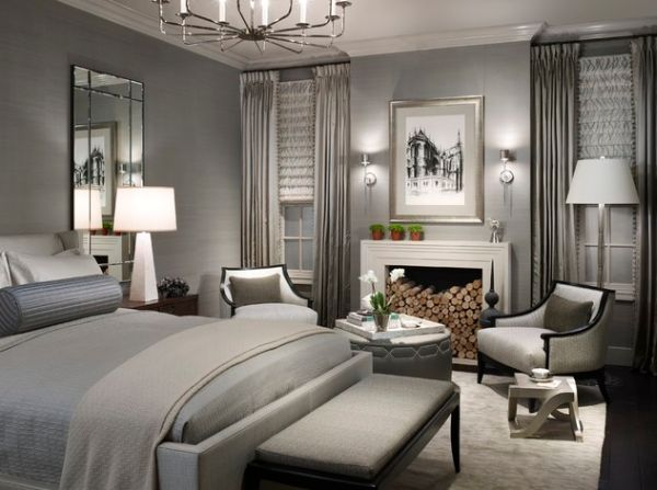 Luxurious bedroom in lovely gray shade sports stunning decor