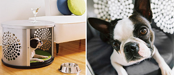 Metal dog house and side table