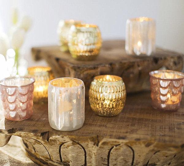 Metallic votive candleholders