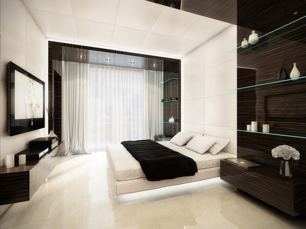 Minimalist floating bed in white