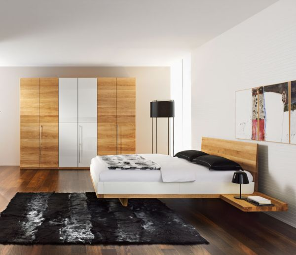 ... Modern bedroom sporting a chic floating bed design