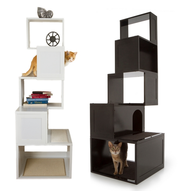 Modern cat trees in black and white