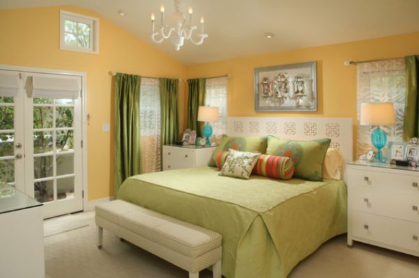 Modern cushioned bench ideal for this warm inviting bedroom space