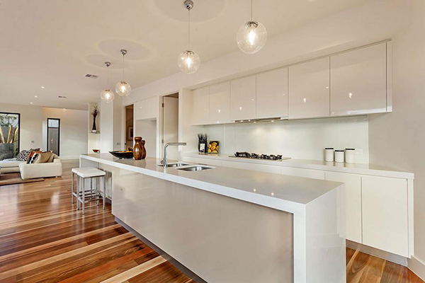 View In Gallery Modern Kitchen In White With Pendant Lights In Even Number