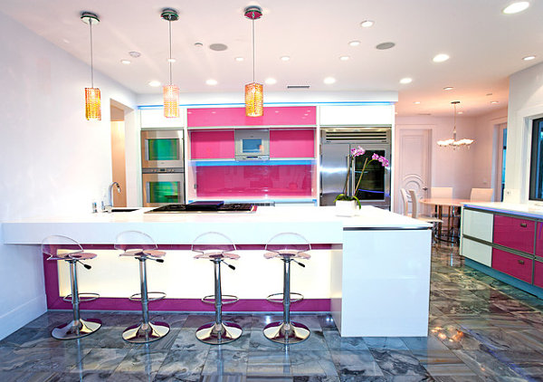 Modern kitchen neon lighting