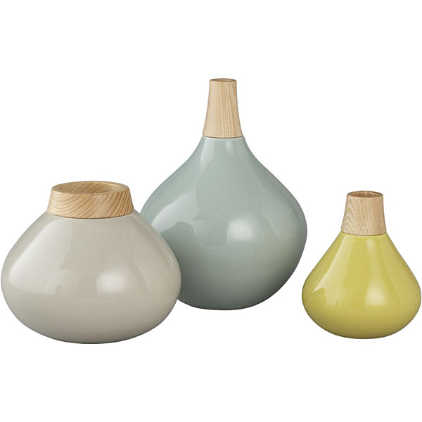 Modern wood and earthenware vases