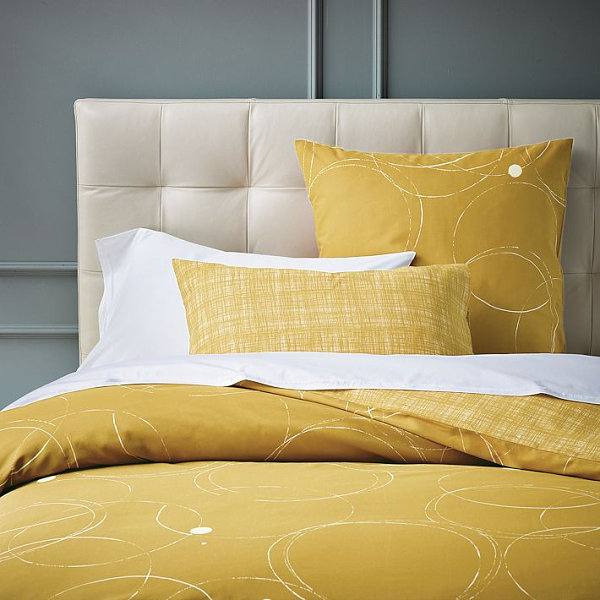 Mustard yellow abstract spring bedding