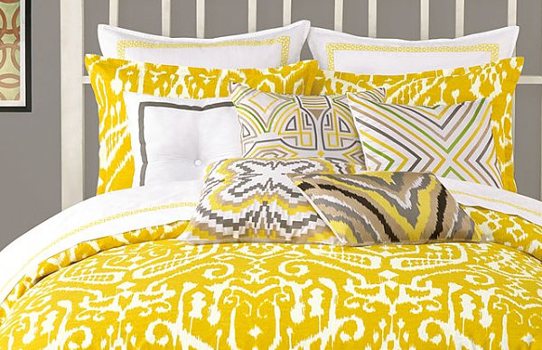 Mustard yellow ikat bedding