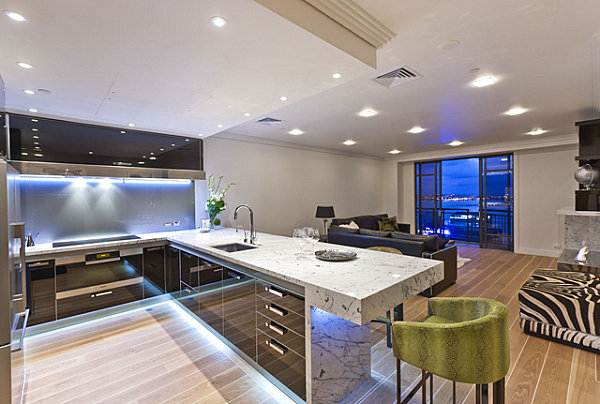 Neon lighting under cabinets in a contemporary kitchen