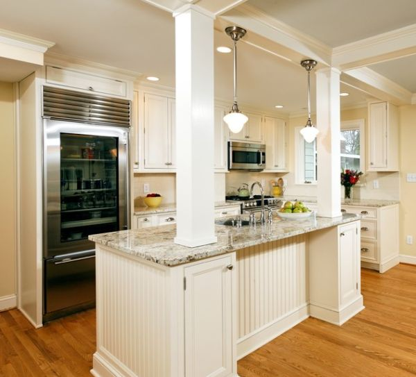 Open glass refrigeration brings sophistication to this classy kitchen