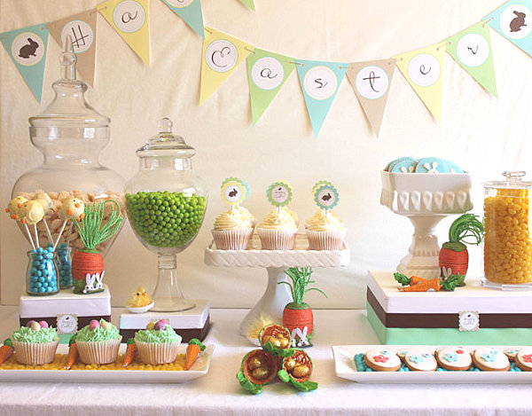 Pastel Easter dessert table