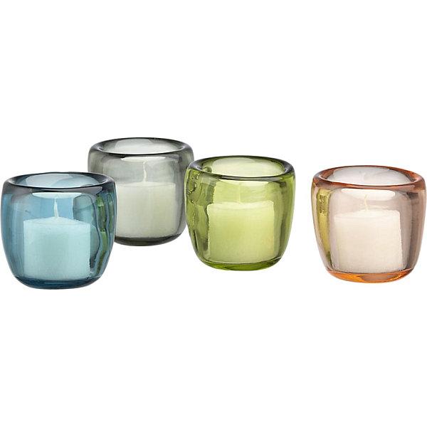 Pastel glass candleholders
